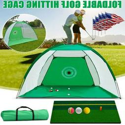 3M Golf Training Net Foldable Golf Hitting Cage+Mat+3Ball+Ba