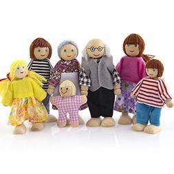 FarJing Kid Child 7 People Doll Toys Wooden Furniture Dolls