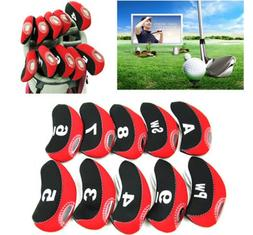 Red Golf Club Iron Cover Headcovers Neoprene Window For Call