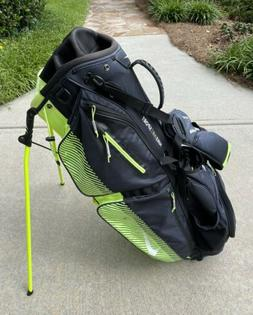 Nike Air Sport Black/Yellow Carry Stand Bag w/ Rain Cover &