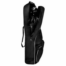Black Foldable Golf Bag Travel Cover with Wheel Lightweight