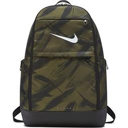 NIKE Brasilia All Over Print Backpack, Olive Flak/Black/Whit