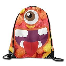 Khom Candy With Eyes Print Drawstring Backpack Gym Rucksack