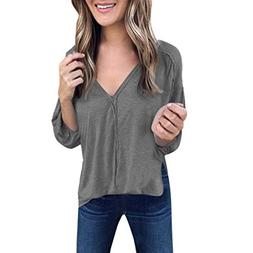 ANJUNIE Women Casual Loose Shirt Solid V-Neck Long Puff Slee