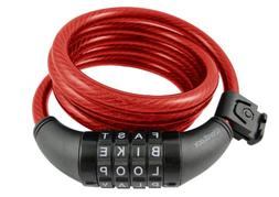 Wordlock CL-408-RD 4-Letter Combination Bike Lock Cable, Red