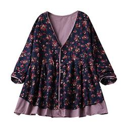 Corriee Blouses for Women Plus Size Cotton and Linen Baggy S
