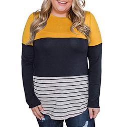 Corriee Blouses for Women Plus Size Stripe Lace Patchwork Pu