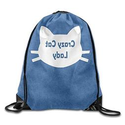 Khom Crazy Cat Lady Cat Lover Cool Drawstring Backpack Strin