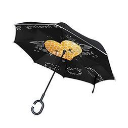 ALAZA Double Layer Inverted Umbrellas Reverse Folding Umbrel