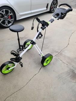 Foldable 3 Wheel Push Pull Golf Club Cart Trolley w/Seat Sco