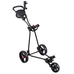 Tangkula Golf Cart 3 Wheels Folding Lightweight Golf Club Pu