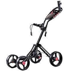 Tangkula Folding Golf Cart 4 Wheels Golf Club Push Pull Cart