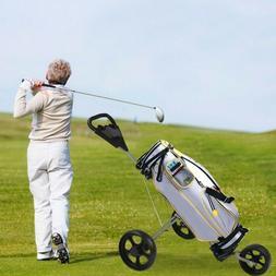 Folding Pull Push Golf Cart 2/3 Wheel Trolley Swivel with Ba