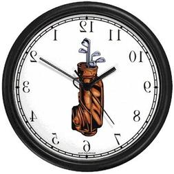 Golf Bag with Clubs - Golf Theme Wall Clock by WatchBuddy Ti