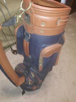 Knight Golf Bag. Navy And Brown. 6 Way Divider.