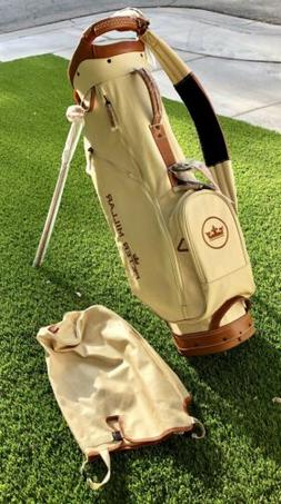 Peter Millar Golf Bag w/ Stand & Travel/Rain Cover,Tan Canva