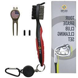 Golf Club Cleaner  Plus Metal Divot Tool with US Flag Magnet