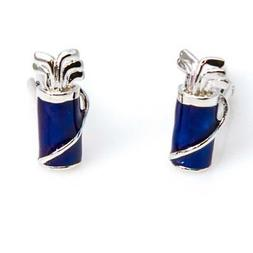 Golf Clubs & Bag Blue Pair Cufflinks Wedding Fancy Gift Box