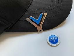 CALLAWAY GOLF HAT CLIP V BLUE WITH MAGNETIC GOLF BALL MARKER