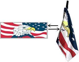 Golf Towel Waffle 42X14 with Hook Clip to Bag, USA Flag Eagl
