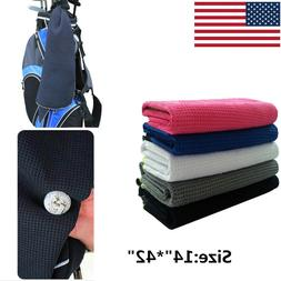 "Golf Towel Waffle Black/White/Blue 14"" x 42"" Hook to Bag Val"