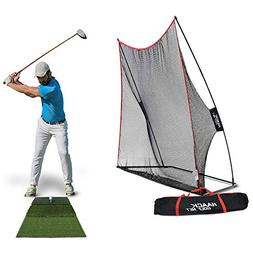 Rukket Haack Golf Net  Bundle with Tri-Turf Hitting Mat