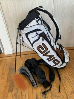 PING Hoofer Vantage 5 Way Dual Strap Stand Golf Bag White Bl