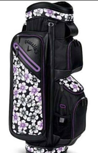 2018 Callaway Uptown Cart Bag Floral Black/Purple towel + clutch