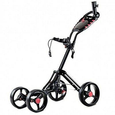 4 Wheels Folding Golf Pull Push Cart Trolley