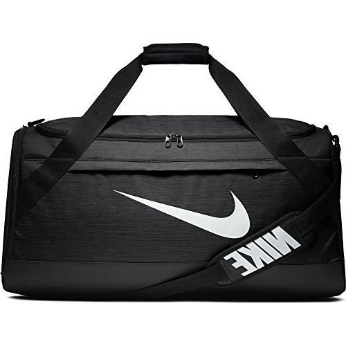 NIKE Brasilia Duffel Bag, Black/Black/White, Large