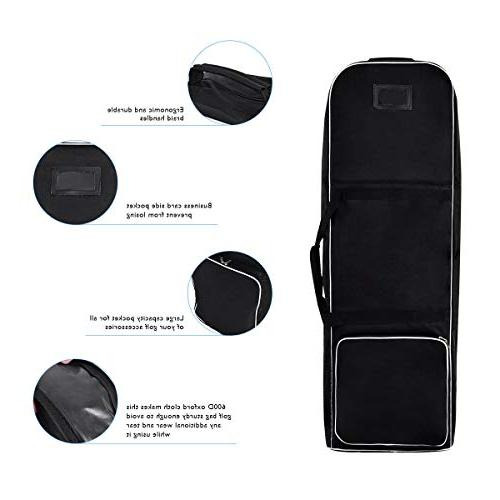 Tangkula Black Foldable Bag Cover Golf Travel Wheel Lightweight Oxford Golf Padded Travel