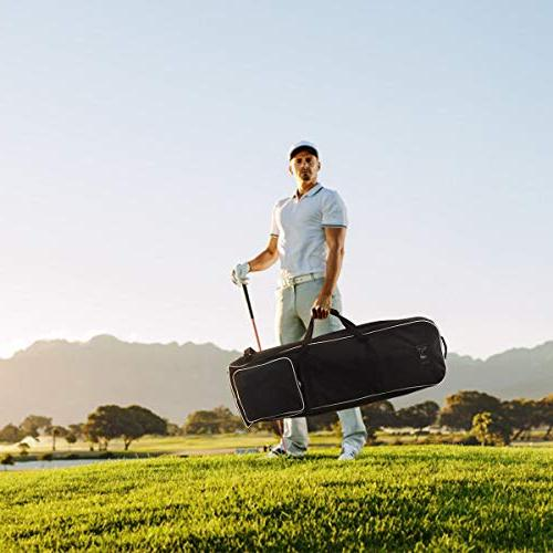 Tangkula Foldable Bag Travel Cover Golf Travel Bag Wheel Cloth Golf Padded Travel Cover