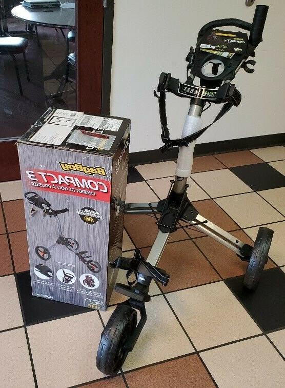 compact 3 push cart silver black