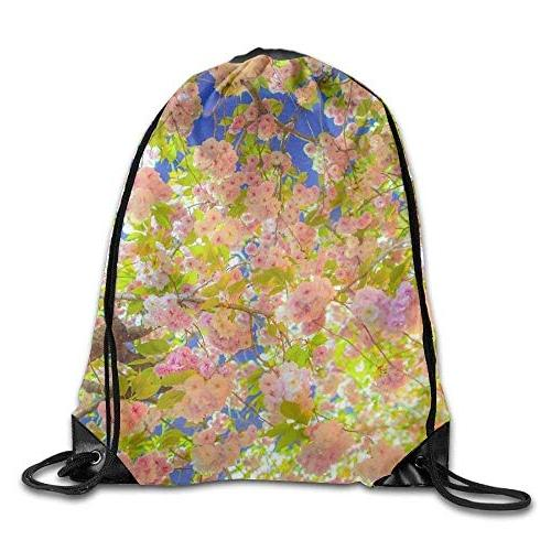 drawstring backpack cherry blossoms waterproof