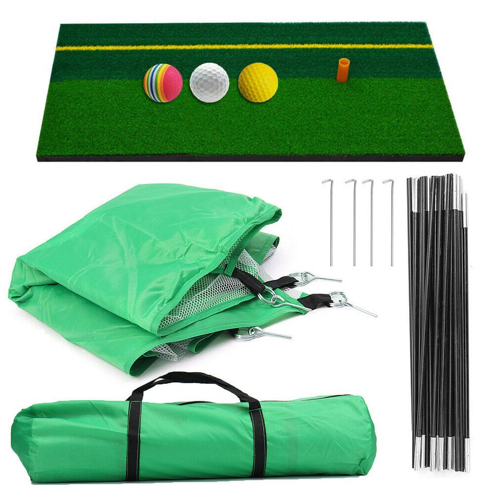Foldable Training Golf Hit Net+Mat+3Balls+Bag