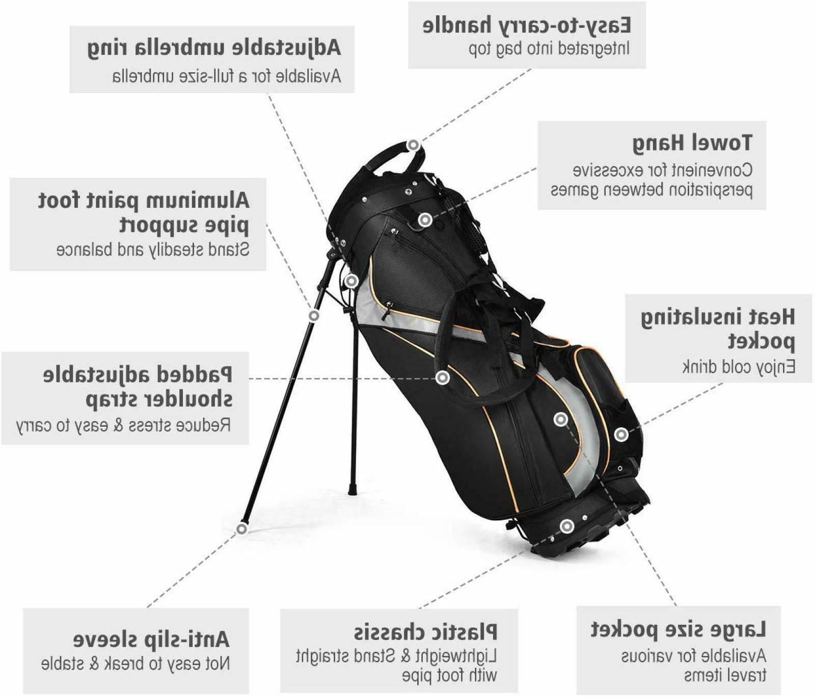 Golf Bag 7 Way Holder Stand Storage Travel