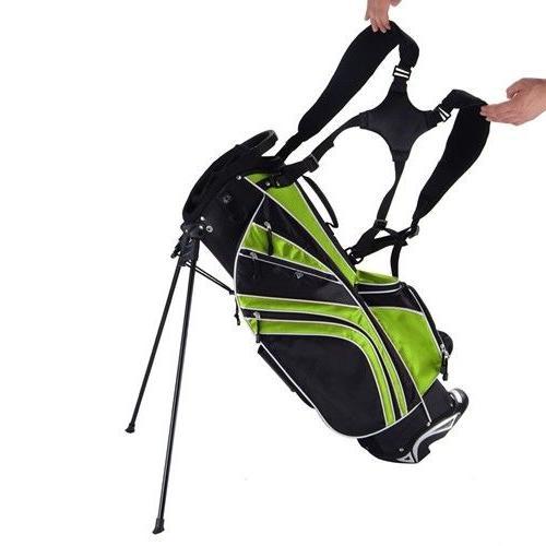 Green Golf Stand Bag w/6 Way Divider Organizer Storage