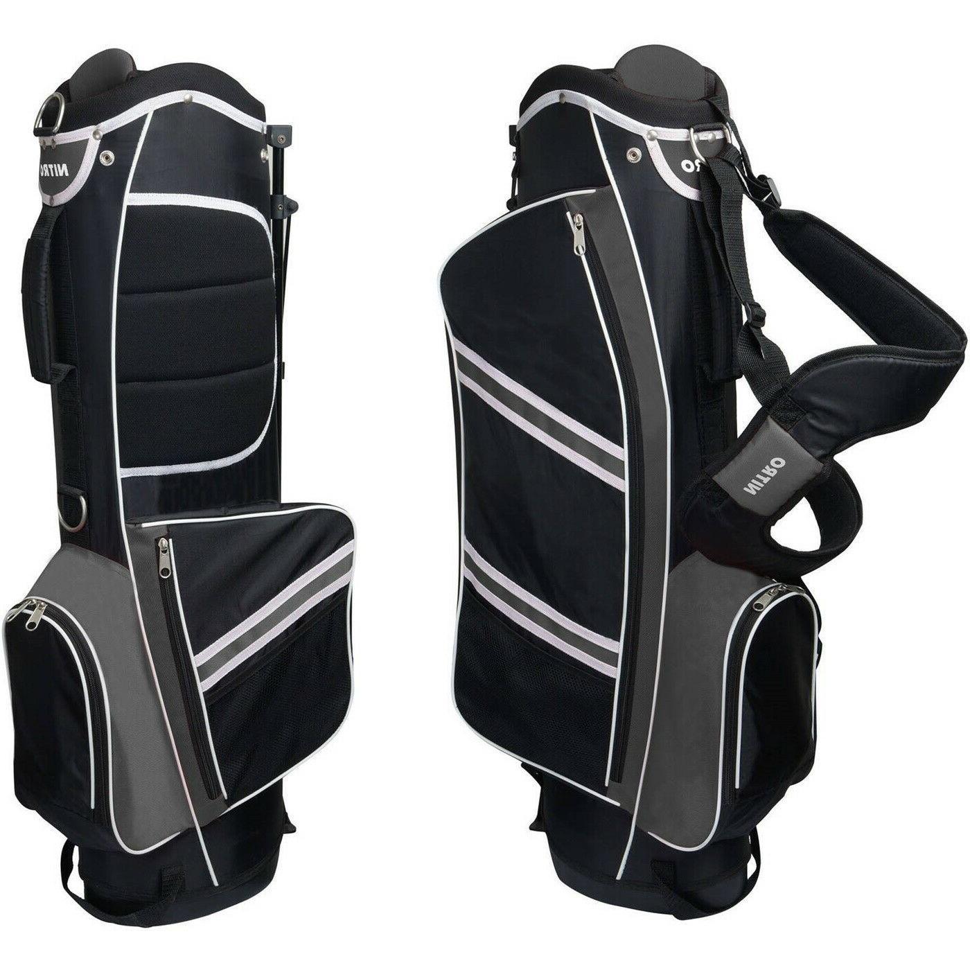 Mens Golf Bag 5 Way Divider Equipment Stand Carry Straps Sta