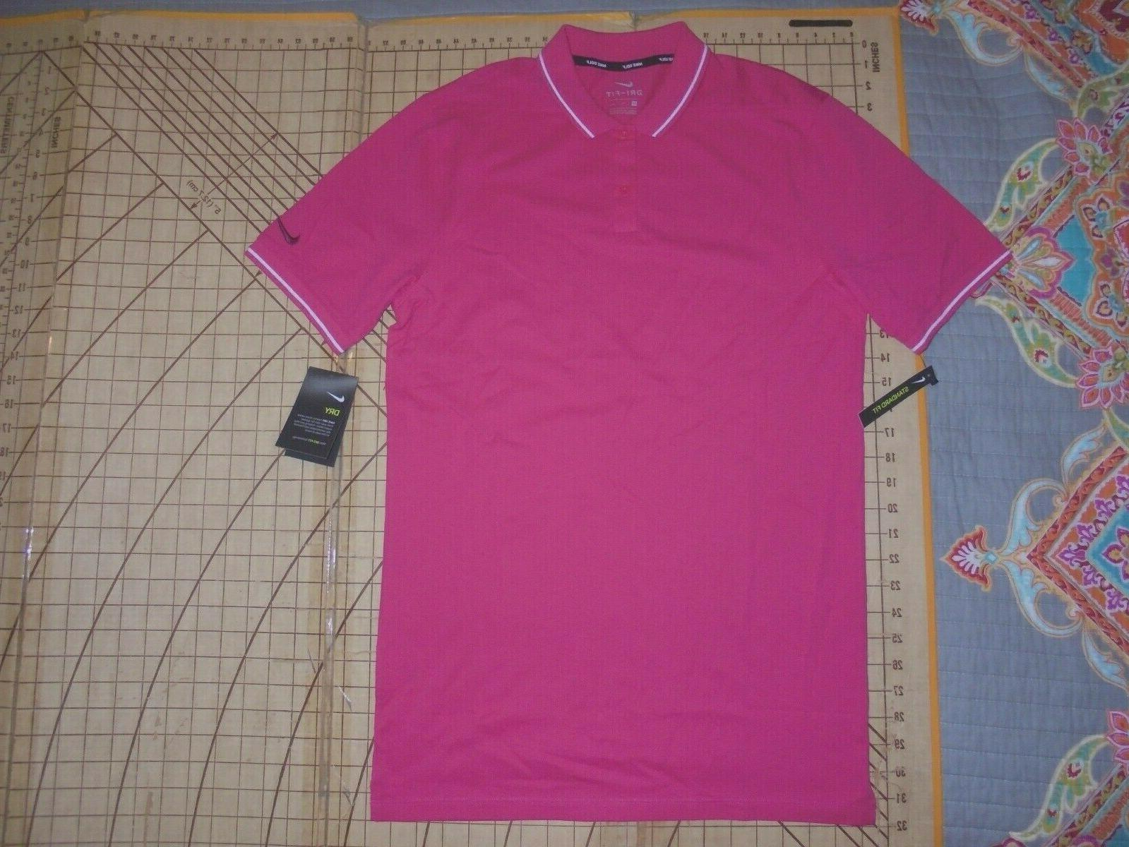 mens small tall pink white accents polo