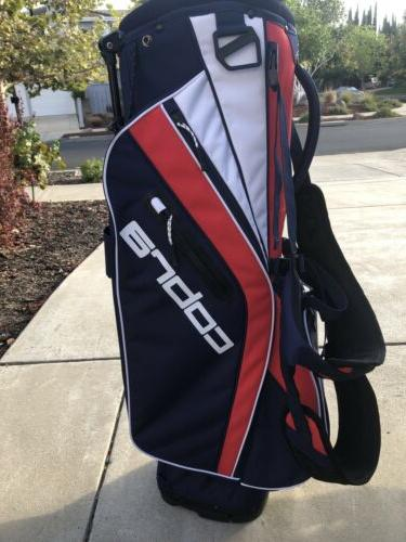 stand bag red white blue