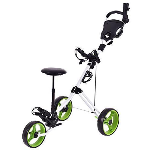 Tangkula Foldable 3 Wheel Pull Golf with Seat Golf Push