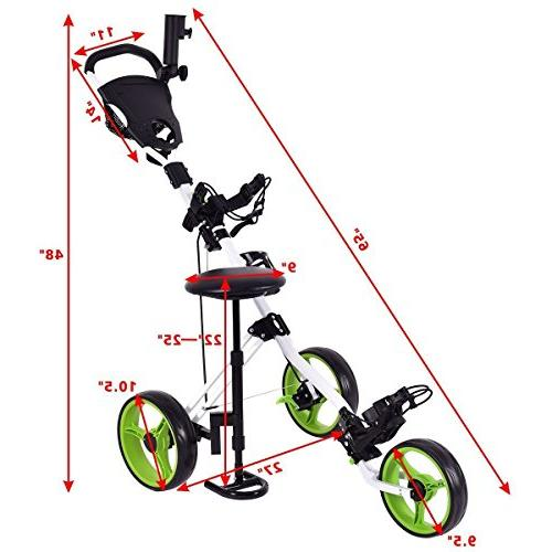 Tangkula Golf Foldable Wheel Pull Cart Golf Trolley with Seat Golf