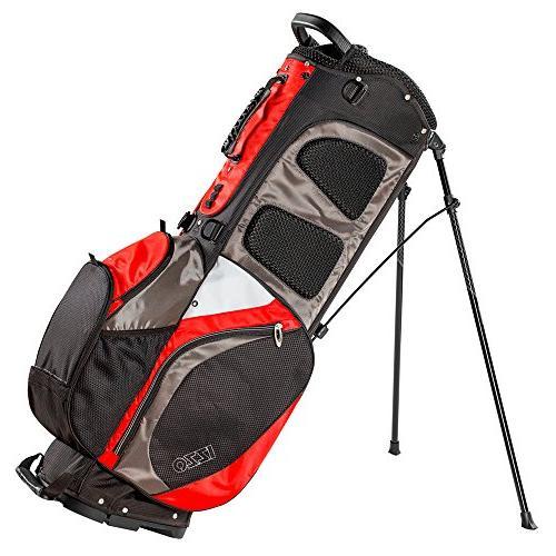 IZZO Versa Stand Golf Bag Black/Grey/Red - Golf Bag, Riding Hybrid Bag, Walking Grey and Stand