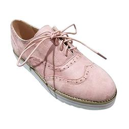 HYIRI Lace Up Shoes,Women's Round Toe Solid Color Ankle Flat