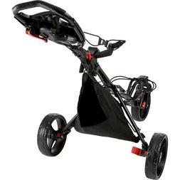 New Black Premium Tour Trek 360 3-Wheel Golf Push Cart W/ Ba