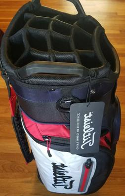 NEW TITLEIST DELUXE CB CLUB 14 CART GOLF BAG 14 WAY NAVY/WHI