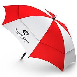 Rain Wind Umbrella Red White 62 Inch Auto Open double canopy