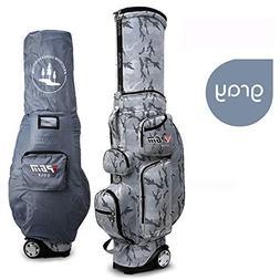 PGM Unisex Retractable Golf Club Carry Bag Wheeled Golf Trav