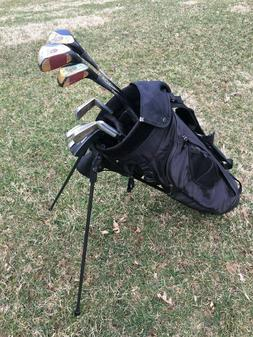 Knight stand golf bag - used 2 rounds, plus vintage clubs