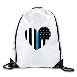 Fibpaecei Thin Blue Line Heart Flag Drawstring Backpack Bag